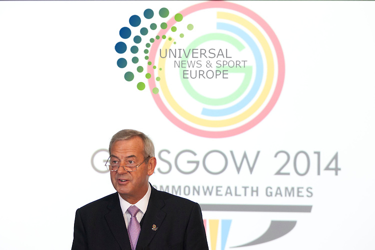 In picture: Glasgow 2014 Chairman Lord Smith. Glasgow 2014 Commonwealth Games host broadcaster was announced today. Sunset+Vine and Global Television are named as having secured the contract. The First Minister, Alex Salmond, and Scottish International badminton player Caitlin Pringle take part in a mock studio event. Commonwealth House, Glasgow. 5th July 2012. Picture: Jonathan Faulds / Universal News And Sport (Europe)