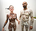 """Experimental Food Society event in Brick Lane London.25.9.10.Weird and wacky food art..Chocolate painter Sid Chidiac  painted a white woman in brown chocolate and black man in white chocolate..His catchphrase is """"Don't lick - Just Look""""...Picture by Gavin Rodgers/ Pixel 07917221968"""
