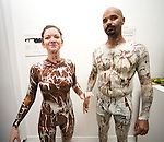"Experimental Food Society event in Brick Lane London.25.9.10.Weird and wacky food art..Chocolate painter Sid Chidiac  painted a white woman in brown chocolate and black man in white chocolate..His catchphrase is ""Don't lick - Just Look""...Picture by Gavin Rodgers/ Pixel 07917221968"