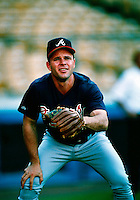 Mark Lemke of the Atlanta Braves during a game at Dodger Stadium in Los Angeles, California during the 1997 season.(Larry Goren/Four Seam Images)