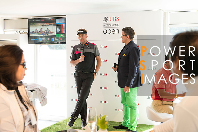 Ian Poulter of England visits the UBS Pavilion on the sidelines of the 58th UBS Hong Kong Golf Open as part of the European Tour on 10 December 2016, at the Hong Kong Golf Club, Fanling, Hong Kong, China. Photo by Marcio Rodrigo Machado / Power Sport Images