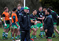 The Manawatu team warm up for the Game of Three Halves pre-season rugby match at Taihape Domain in Taihape, New Zealand on Friday, 27 July 2018. Photo: Dave Lintott / lintottphoto.co.nz