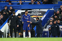 Chelsea Manager Maurizio Sarri brings on Ruben Loftus-Cheek in the second half during Chelsea vs Dynamo Kiev, UEFA Europa League Football at Stamford Bridge on 7th March 2019