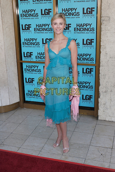"JENNIFER SEIBEL.2005 Los Angeles Film Festival - ""Happy Endings"" Closing Night Screening held at the Mann's National Theatre, Westwood, California , USA, 26 June 2005. .full length blue turquoise dress pink pashmina shawl.Ref: ADM.www.capitalpictures.com.sales@capitalpictures.com.©Zach Lipp/AdMedia/Capital Pictures."