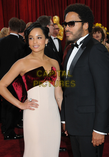 ZOE & LENNY KRAVITZ.82nd Annual Academy Awards held at the Kodak Theatre, Hollywood, California, USA..March 7th, 2010.oscars half length dress strapless  hand on hip pink white red black tuxedo father dad daughter family sunglasses shades .CAP/ADM/BP.©Byron Purvis/AdMedia/Capital Pictures.