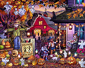 Randy, CUTE ANIMALS, LUSTIGE TIERE, ANIMALITOS DIVERTIDOS, halloween, paintings+++++Halloween-Barn-Dance-Wollenmann-sm,USRW315,#ac#, EVERYDAY,puzzle,puzzles