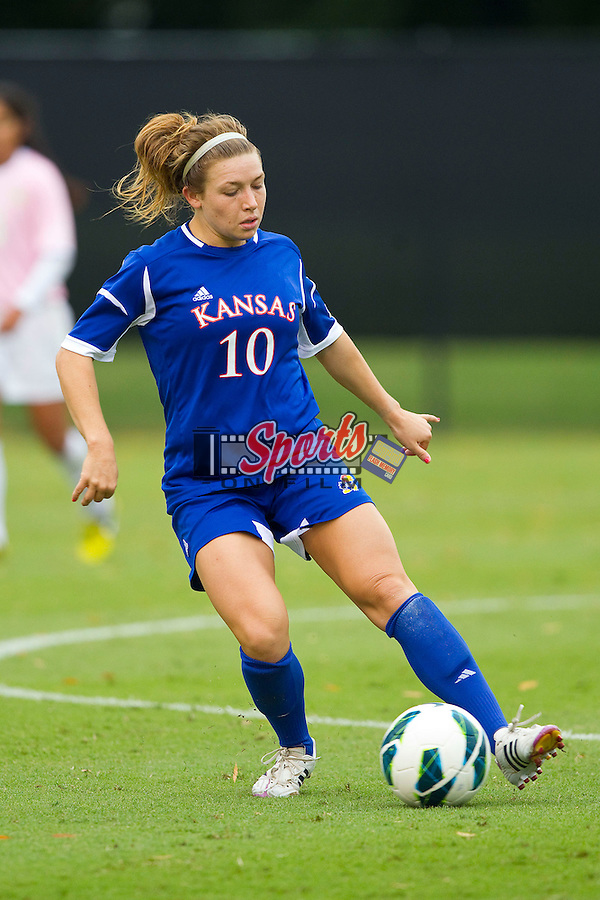 Caroline Kastor (10) of the Kansas Jayhawks in action against the Wake Forest Demon Deacons at Spry Soccer Stadium on October 7, 2012 in Winston-Salem, North Carolina.  The Demon Deacons and the Jayhawks battled to a 1-1 tie in double overtime.  (Brian Westerholt/Sports On Film)