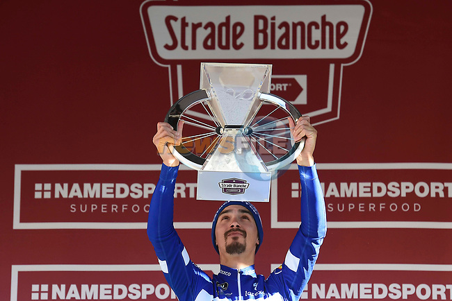 Julian Alaphilippe (FRA) Deceuninck-Quick Step wins Strade Bianche 2019, running 14km from Siena to Siena, held over the white gravel roads of Tuscany, Italy. 9th March 2019.<br /> Picture: Eoin Clarke | Cyclefile<br /> <br /> <br /> All photos usage must carry mandatory copyright credit (© Cyclefile | Eoin Clarke)