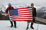 Ike Isaacson and soldier Matt Nyman on the summit of Lobuche at 20,075 feet.