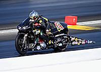 May 14, 2016; Commerce, GA, USA; NHRA pro stock motorcycle rider Angelle Sampey during qualifying for the Southern Nationals at Atlanta Dragway. Mandatory Credit: Mark J. Rebilas-USA TODAY Sports