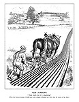 "New Furrows. ""'Taint much, but it's beginning."" [There has been an increase of 48,000 under plough in England and Wales since the returns of last June.]"