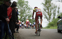 Olivier Chevalier (BEL/Wallonie Bruxelles-Group Protect) dropped on the steepest part of the course<br /> <br /> Belgian National Road Cycling Championships 2016<br /> Les Lacs de l'Eau d'Heure