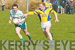 Barry Grady Ballyduff  tries to get away from Brenda?n Wheelan St. Senan's in The County League Div Five in Ballyduff on Sunday..   Copyright Kerry's Eye 2008