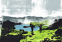 Brightly coloured illustration of cyclists carrying bikes at Loughrigg in the English Lake District