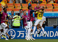 SARANSK - RUSIA, 19-06-2018: Juan QUINTERO (#20) jugador de Colombia celebra después de anotar un gol a Japón durante partido de la primera fase, Grupo H, por la Copa Mundial de la FIFA Rusia 2018 jugado en el estadio Mordovia Arena en Saransk, Rusia. /  Juan QUINTERO (#20) player of Colombia celebrates after scoring a goal to Japón during match of the first phase, Group H, for the FIFA World Cup Russia 2018 played at Mordovia Arena stadium in Saransk, Russia Photo: VizzorImage / Julian Medina / Cont