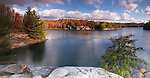 Beautiful fall morning landscape panoramic nature scenery at lake George, Killarney provincial park, Ontario, Canada.