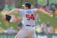 Pitcher Gary Moran (54) of the Rome Braves, Class A affiliate of the Atlanta Braves, in a game against the Greenville Drive on July 18, 2011, at Fluor Field at the West End in Greenville, South Carolina. (Tom Priddy/Four Seam Images)