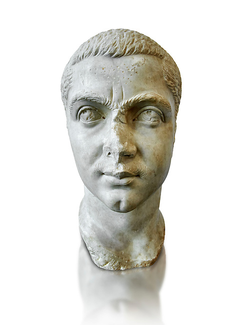 Roman sculpture bust of  Gordian III made between 238 and 244 AD and excavated from Ostia. At the age of 13, he became the youngest sole legal Roman emperor throughout the existence of the united Roman Empire. Gordian was the son of Antonia Gordiana and an unnamed Roman Senator who died before 238. When the Persians under Shapur I invaded Mesopotamia, the young emperor opened the doors of the Temple of Janus for the last time in Roman history, and sent a large army to the East. The Sassanids were driven back over the Euphrates and defeated in the Battle of Resaena (243AD). In the beginning of 244, the Persians counter-attacked. Persian sources claim that a battle was fought (Battle of Misiche) near modern Fallujah (Iraq) and resulted in a major Roman defeat and the death of Gordian III. The National Roman Museum, Rome, Italy