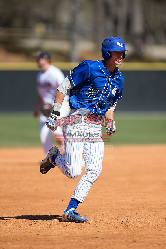 Parker Sniatynski (37) of the Saint Louis Billikens hustles towards third base against the Davidson Wildcats at Wilson Field on March 28, 2015 in Davidson, North Carolina. (Brian Westerholt/Four Seam Images)