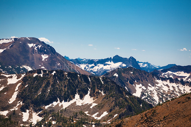 A view of the Bitterroot Mountains from the top of Lolo Peak