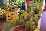 Durians, melons, pineapples in London Asian food shop, Brick Lane, E1