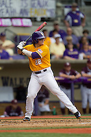 LSU Tigers catcher Kade Scivicque (22) at bat during the Southeastern Conference baseball game against the Texas A&M Aggies on April 25, 2015 at Alex Box Stadium in Baton Rouge, Louisiana. Texas A&M defeated LSU 6-2. (Andrew Woolley/Four Seam Images)