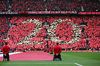 "Pictured: ""20"" on one of the Old Trafford stands for the 20 titles the club has won under Sir Alex Ferguson. Sunday 12 May 2013<br />