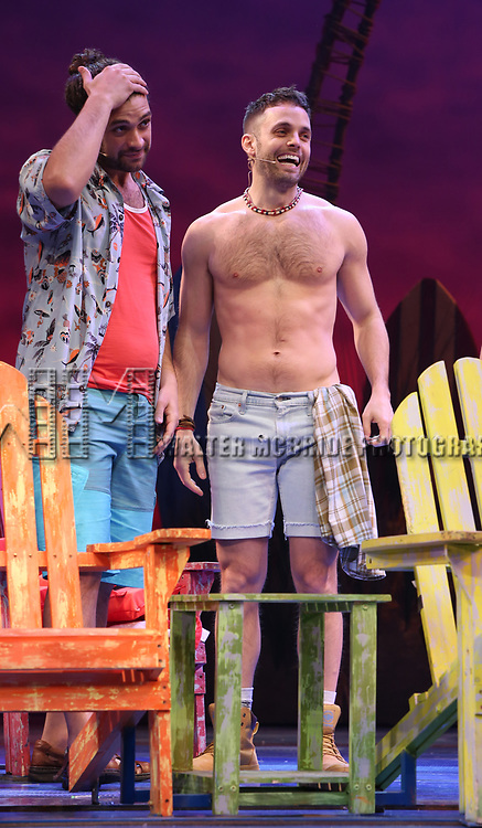 Mike Millan and Justin Mortelliti during the Press Sneak Peak for the Jimmy Buffett  Broadway Musical 'Escape to Margaritaville' on February 15, 2018 at the Marquis Theatre in New York City.