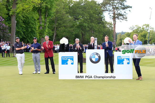 The presentation party during the final round of the BMW PGA championship, Wentworth Golf Club, Virginia Waters, London.<br /> Picture: Fran Caffrey www.golffile.ie
