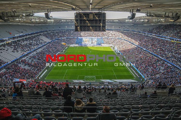 06.02.2016, Allianz Arena, Muenchen, GER, 2.FBL,  TSV 1860 Muenchen  vs. 1. FC Nuernberg, im Bild fuer 1860 verhaeltnis sehr gut besuchte Allianz Arena vom obersten Rang aus <br /> <br />  Foto &copy; nordphoto / Straubmeier