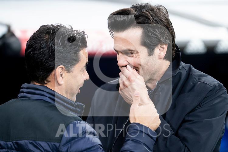 Coach Santiago Solari of Real Madrid and coach Miguel Angel Sanchez Munoz of Rayo Vallecano during La Liga match between Real Madrid and Rayo Vallecano at Santiago Bernabeu Stadium in Madrid, Spain. December 15, 2018. (ALTERPHOTOS/Borja B.Hojas)
