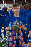 Billy Gilmour of Chelsea U18 poses with the trophy during the FA Youth Cup FINAL 2nd leg match between Arsenal and Chelsea at the Emirates Stadium, London, England on 30 April 2018. Photo by Andy Rowland.
