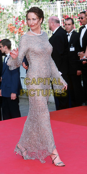 ANDIE MacDOWELL..Cannes 2001..Ref: 10854..full length, full-length, red carpet, jewelled dress, long sleeves..www.capitalpictures.com..sales@capitalpictures.com..©Capital Pictures
