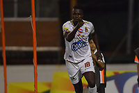ENVIGADO -COLOMBIA, 01-09-2018: Marco Perez jugador de Deportes Tolima celebra después de anotar el primer gol de su equipo a Envigado FC durante partido por la fecha 7 de la Liga Águila II 2018 realizado en el Polideportivo Sur de la ciudad de Envigado. / Marco Perez player of Deportes Tolima celebrates after scoring the first goal  of his team to Envigado FC during match for the date 7 of the Aguila League II 2018 played at Polideportivo Sur in Envigado city.  Photo: VizzorImage/ León Monsalve / Cont