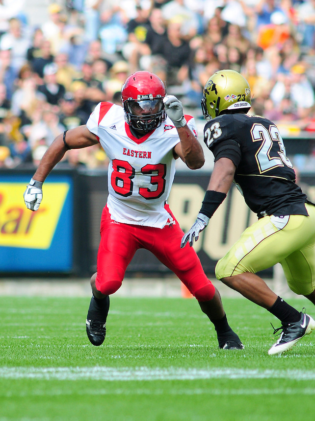 06 September 08: Eastern Washington wider receiver Brynsen Brown (83) runs a pattern against Colorado. The Colorado Buffaloes defeated the Eastern Washington Eagles 31-24 at Folsom Field in Boulder, Colorado. FOR EDITORIAL USE ONLY
