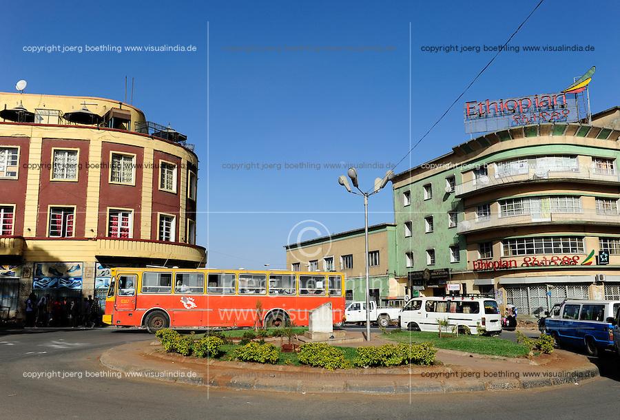 ETHIOPIA, Addis Ababa, traffic at Piazza , city centre / AETHIOPIEN, Addis Abeba, Verkehr am Piazza im Stadtzentrum