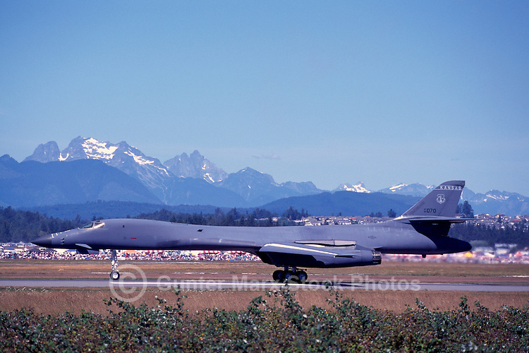 "US Air Force Rockwell (Boeing) B-1B Lancer Bomber (aka the ""Bone"") Military Aircraft landing on Runway - at Abbotsford International Airshow, BC, British Columbia, Canada"