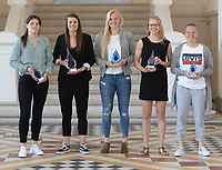 20180603 – OOSTENDE , BELGIUM :  from L to R : Best Belgian goalkeeper Louise Van Den Bergh  - Best Belgian Player Laura De Neve - Top Scorer Superleague Ella Vankerkhoven  - Most Promising Young Player Sarah Wijnants - Topscorer First Division Laura Gorniak pictured during the 4th edition of the Sparkle award ceremony , Sunday 3 June 2018 , in Oostende . The Sparkle  is an award for the best female soccer player during the season 2017-2018 comparable to the Golden Shoe or Boot / Gouden Schoen / Soulier D'or for Men in Belgium . PHOTO SPORTPIX.BE / DIRK VUYLSTEKE