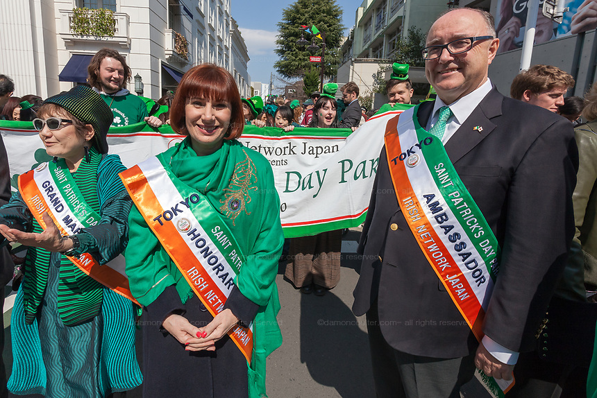 """The Irish Ambassador, Paul Kavanagh (right) and Irish Culture Minister, Josepha Madigan (centre left)  before the 27th Saint .Patrick's Day Parade in Omotesando, Tokyo, Japan. Sunday March 17th 2019. Started in 1992 by the Irish Network, Japan, and supported by the Embassy of Ireland,; the parade, along with the """"I Love Ireland Festival"""" held nearby is Asia's  largest Irish event."""
