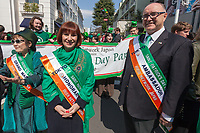 "The Irish Ambassador, Paul Kavanagh (right) and Irish Culture Minister, Josepha Madigan (centre left)  before the 27th Saint .Patrick's Day Parade in Omotesando, Tokyo, Japan. Sunday March 17th 2019. Started in 1992 by the Irish Network, Japan, and supported by the Embassy of Ireland,; the parade, along with the ""I Love Ireland Festival"" held nearby is Asia's  largest Irish event."