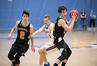 #2 Jacob Adler and #21 Caleb Yellin-Flaherty<br /> The Occidental College men's basketball team plays against Pomona-Pitzer in the SCIAC Tournament Championship on Saturday, Feb. 23, 2019 in Claremont. Oxy lost, 68-45.<br /> Oxy finishes with its best overall record since 2007-08 at 22-5 overall, and went 12-4 in SCIAC play for the second season in a row.<br /> (Photo by Marc Campos, Occidental College Photographer)