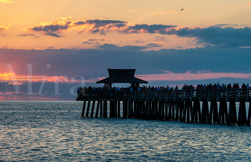 Naples Pier at sunset, Naples, Florida, USA.
