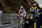 Polka Dot Jersey Benoit Cosnefroy (FRA) AG2R La Mondiale chats with the moto guys as he summits the Col de Peyresourde during Stage 8 of Tour de France 2020, running 141km from Cazeres-sur-Garonne to Loudenvielle, France. 5th September 2020. <br /> Picture: Colin Flockton | Cyclefile<br /> All photos usage must carry mandatory copyright credit (© Cyclefile | Colin Flockton)