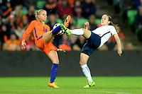 GRONINGEN -  Voetbal, Nederland - Noorwegen, Noordlease stadion, WK kwalificatie vrouwen, 24-10-2017,   hoogstandje van Nederland speelster Jackie Groenen