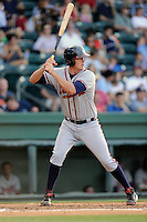 First baseman Matt Tellor (43) of the Rome Braves bats in a game against the Greenville Drive on Monday, June 15, 2015, at Fluor Field at the West End in Greenville, South Carolina. Greenville won, 9-3. (Tom Priddy/Four Seam Images)