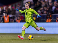 COLUMBUS, OH - NOVEMBER 07: Hedvig Lindahl #1 of Sweden punts the ball during a game between Sweden and USWNT at Mapfre Stadium on November 07, 2019 in Columbus, Ohio.