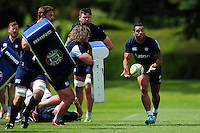 Kahn Fotuali'i of Bath Rugby passes the ball. Bath Rugby pre-season training session on August 9, 2016 at Farleigh House in Bath, England. Photo by: Patrick Khachfe / Onside Images