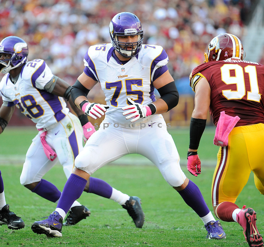 Minnesota Vikings Matt Kalil (75) in action during a game against the Washington Redskins on October 14, 2012 at FedExField in Washington, DC. The Redskins beat the Vikings 38-26