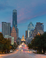 South Congress leads to the Texas State Capitol. On each side of this well known street, the high rises of the Austin skyline shine in the morning light of early November.