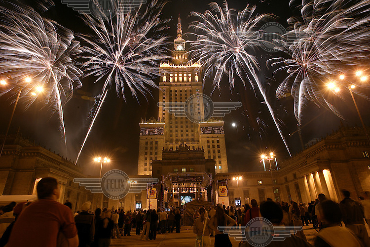 A sports and music event sponsored by the mobile telephone company Nokia, featuring a firework display beside the Soviet-built Palace of Culture...